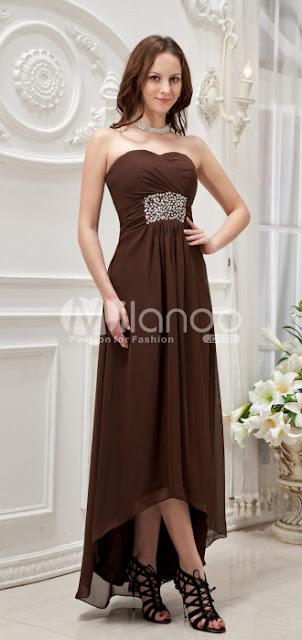 Chocolat Empire bretelles taille satin Sweetheart Tulle Summer Long Arrière en robe de bal avant