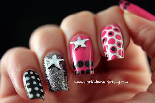 2true nail polish polka dot nails glitter stars