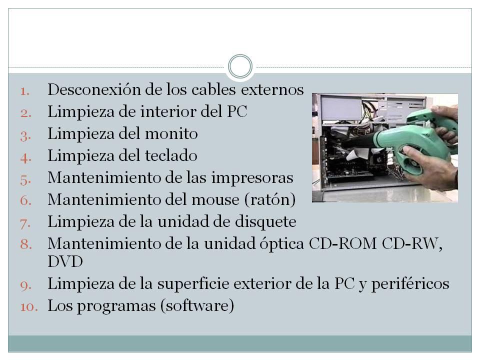 Operacion del equipo de computo: 9.3 mantenimiento para el ...