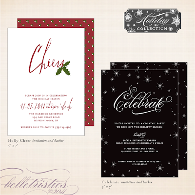 printable diy holiday new year's christmas party invitation gathering soiree stars winter night sparkle holly calligraphy unique custom personalized