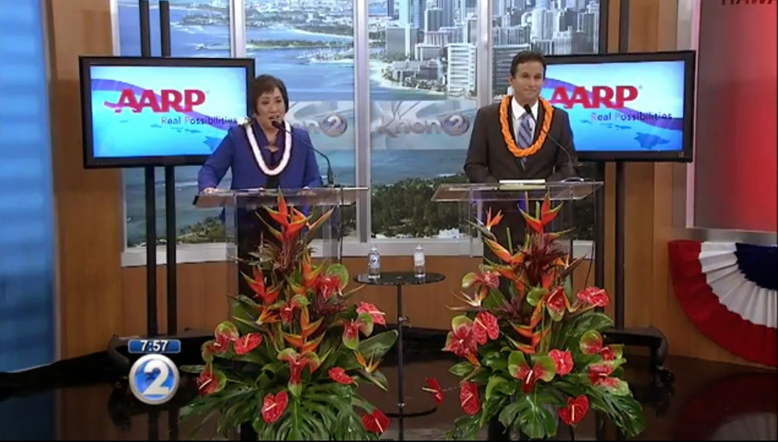 screen shot of AARP forum on KHON2 TV