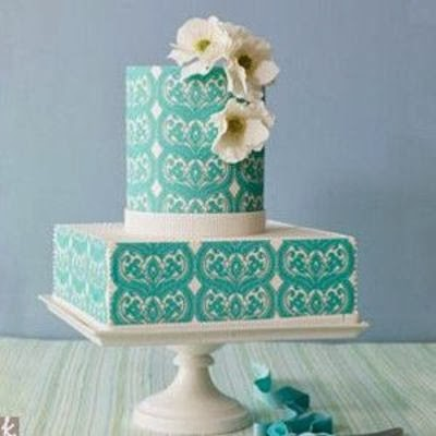 aqua and white wedding cake