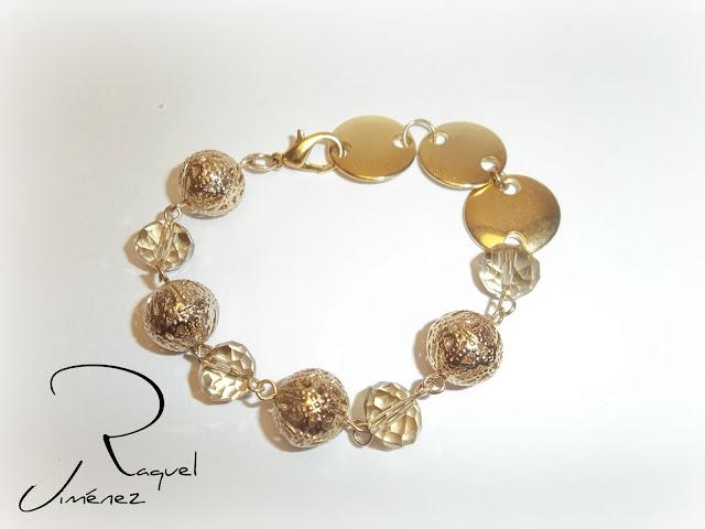 pulsera dorada con cristal checo