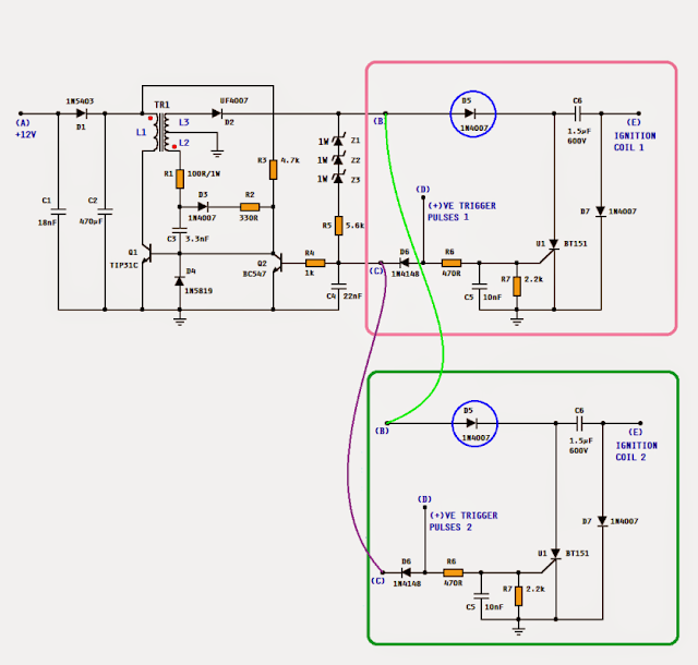 dc cdi circuit for motorcycles electronic circuit projects
