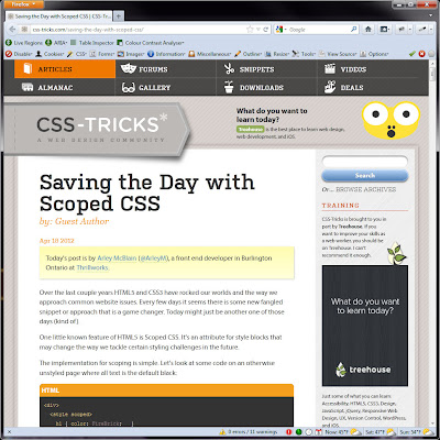 Screen shot of http://css-tricks.com/saving-the-day-with-scoped-css/.