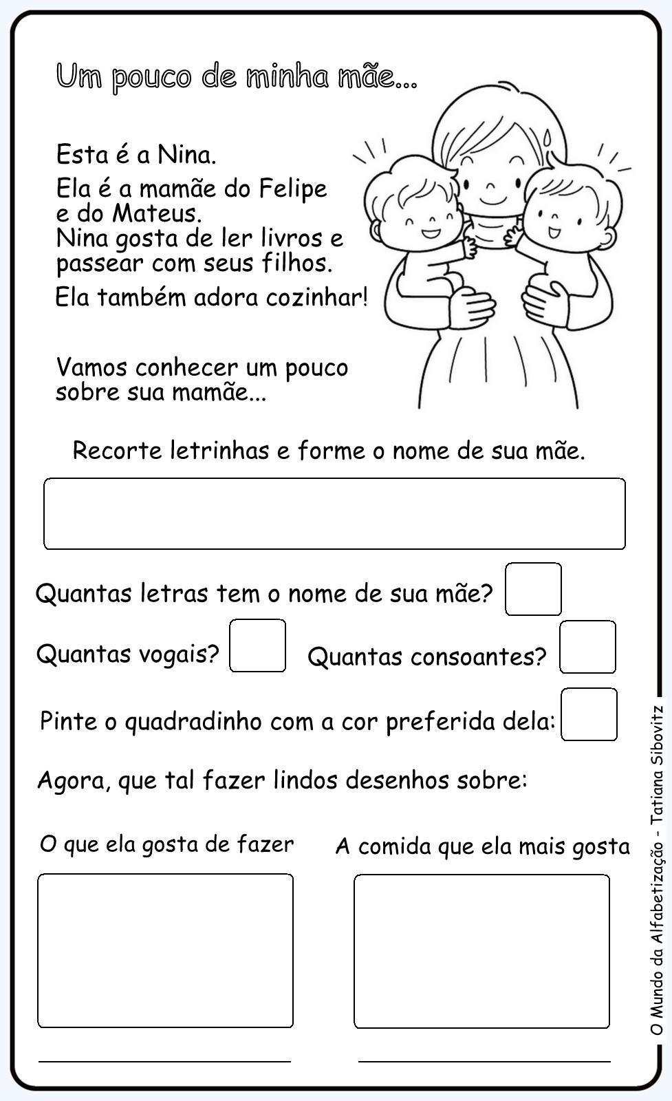 Muito O Mundo da Alfabetização: Dia das Mães - Atividades ZY31