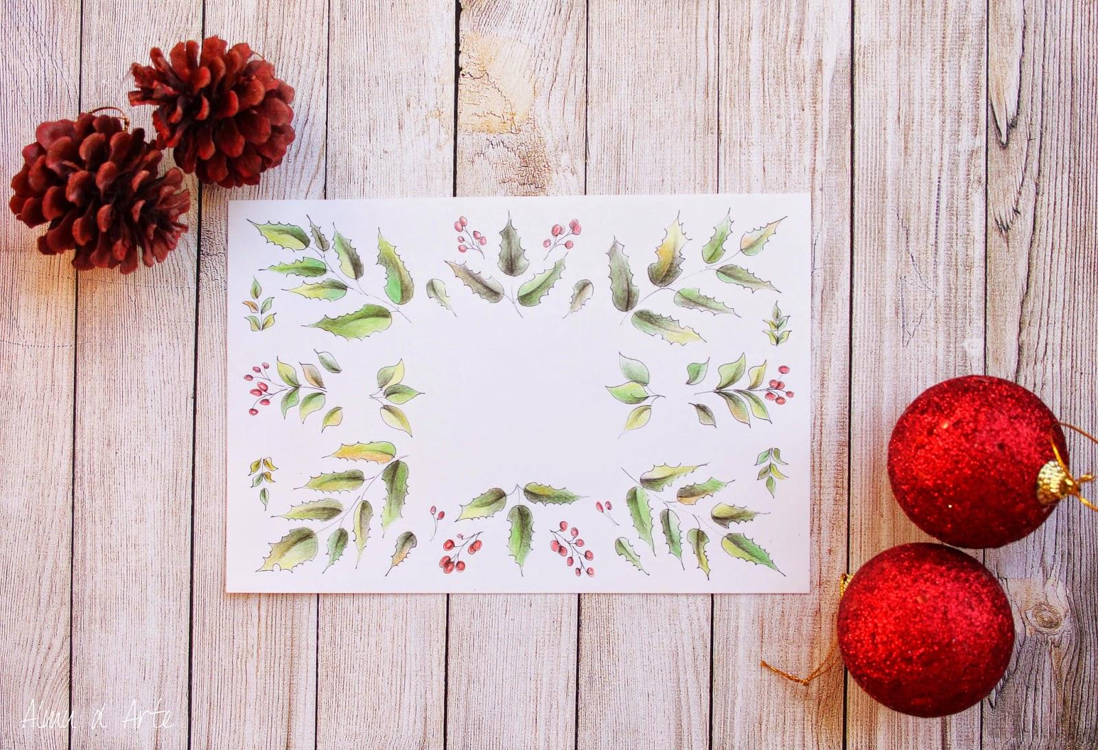 postal navideña pintada a mano para descargar gratis