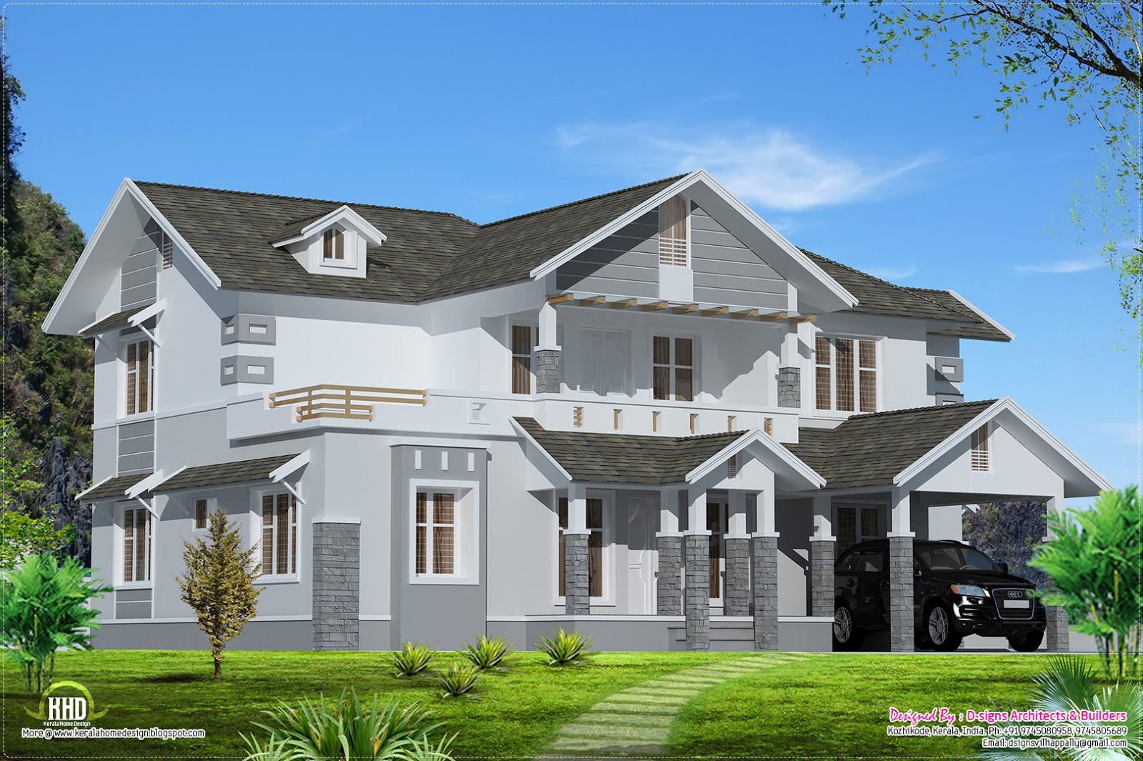 2500 sloping roof home design kerala home design for 2500 sq ft house plans in kerala
