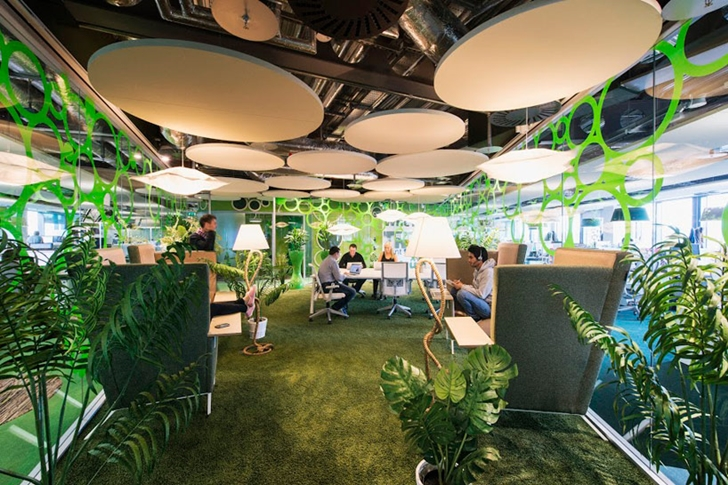 Forest themed office in Google office in Dublin