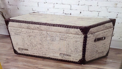 Bainbridge Home Avril Fabric Storage Trunk – French script print, nail trimmed accents