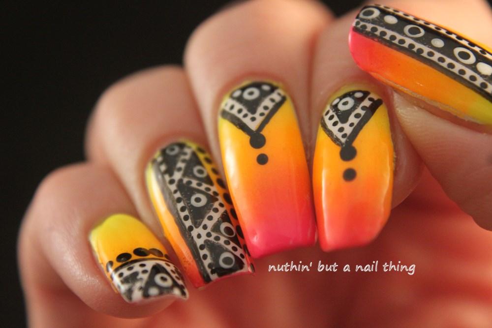 Nuthin but a nail thing bright tribal nail art bright tribal nail art bright tribal nail art prinsesfo Choice Image