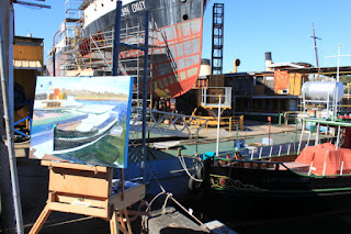 oil painting of 'Lady Hopetoun' Sydney Heritage Fleet by artist Jane Bennett