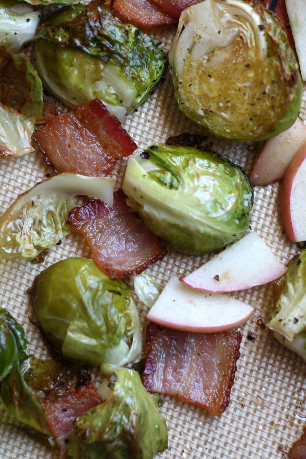 Roasted Brussels Sprouts with Apples and Bacon recipe by Barefeet In The Kitchen