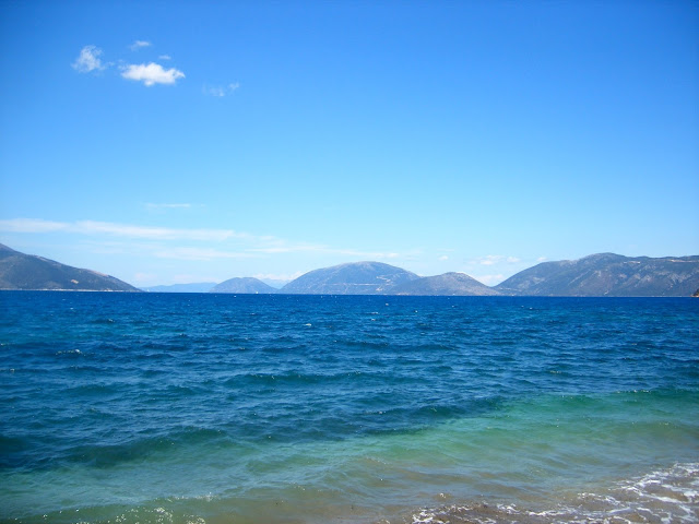 Ocean at the beach and mountains of Kefalonia, Greece