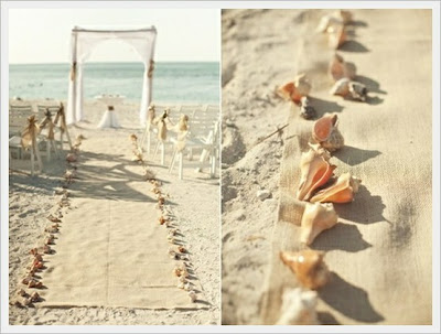 candle lanterns beach wedding aisle