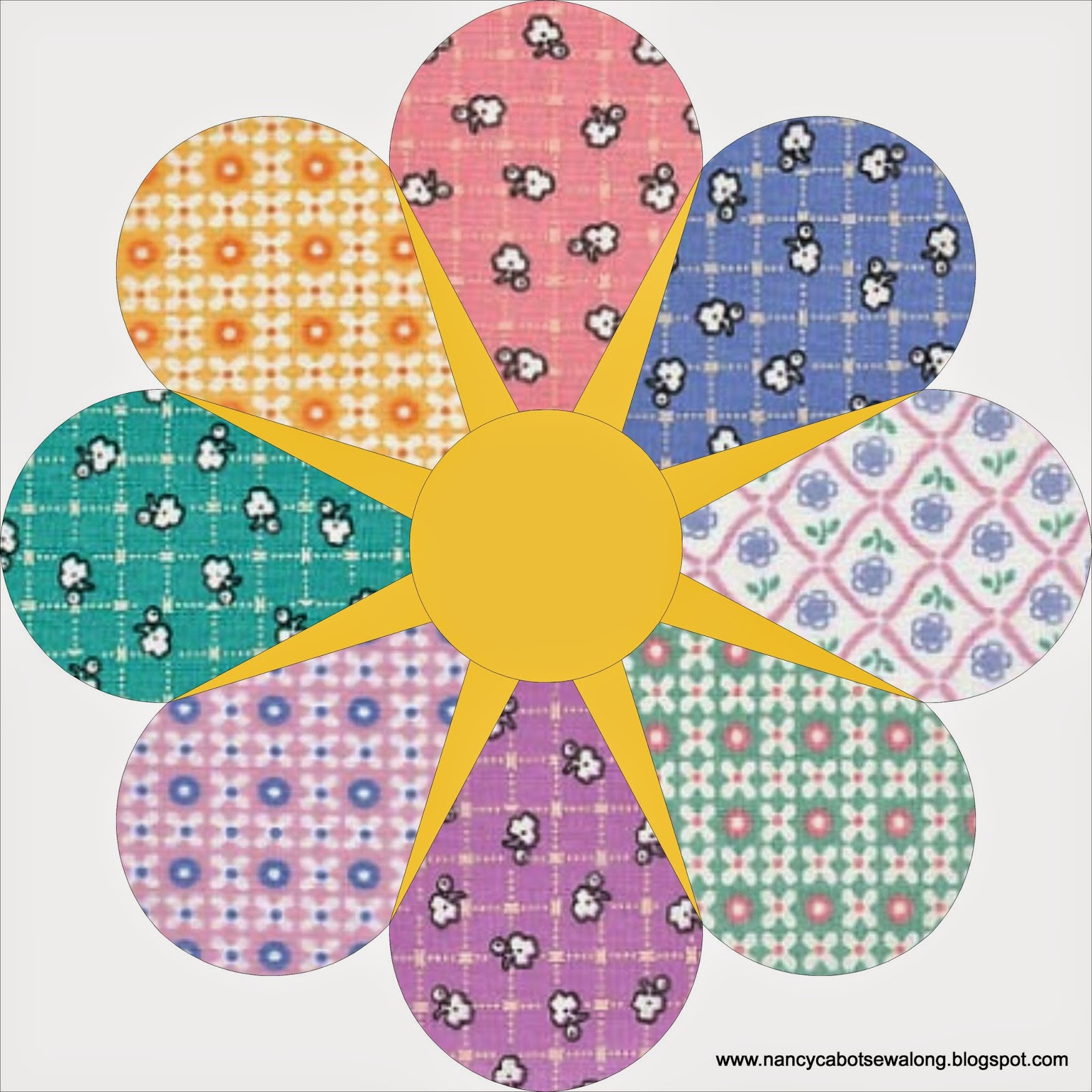 Moore About Nancy Star Flower Quilt Block