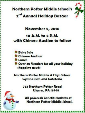 11-5 Northern Potter 2nd Annual Holiday Bazaar