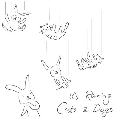 Raining Cats And Dogs Drawing