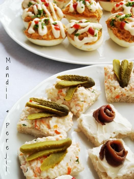 Mandil perejil picoteo variado for Canape de cangrejo