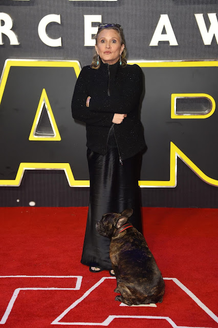 Actress, @ Carrie Fisher - European premiere of 'Star Wars: The Force Awakens', London