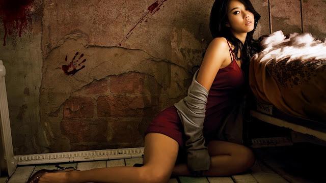 Asian Model Red Dress
