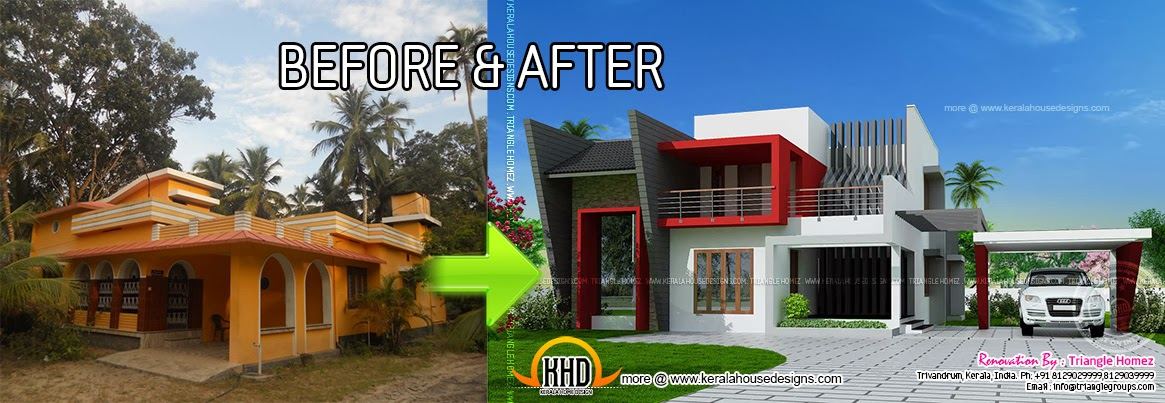 kerala house renovation before and after kerala home. Black Bedroom Furniture Sets. Home Design Ideas