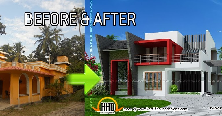Kerala house renovation before and after home kerala plans for Renovated homes before and after photos