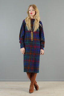 Vintage 1980's multi-colored plaid Missoni long sleeved midi shift dress.