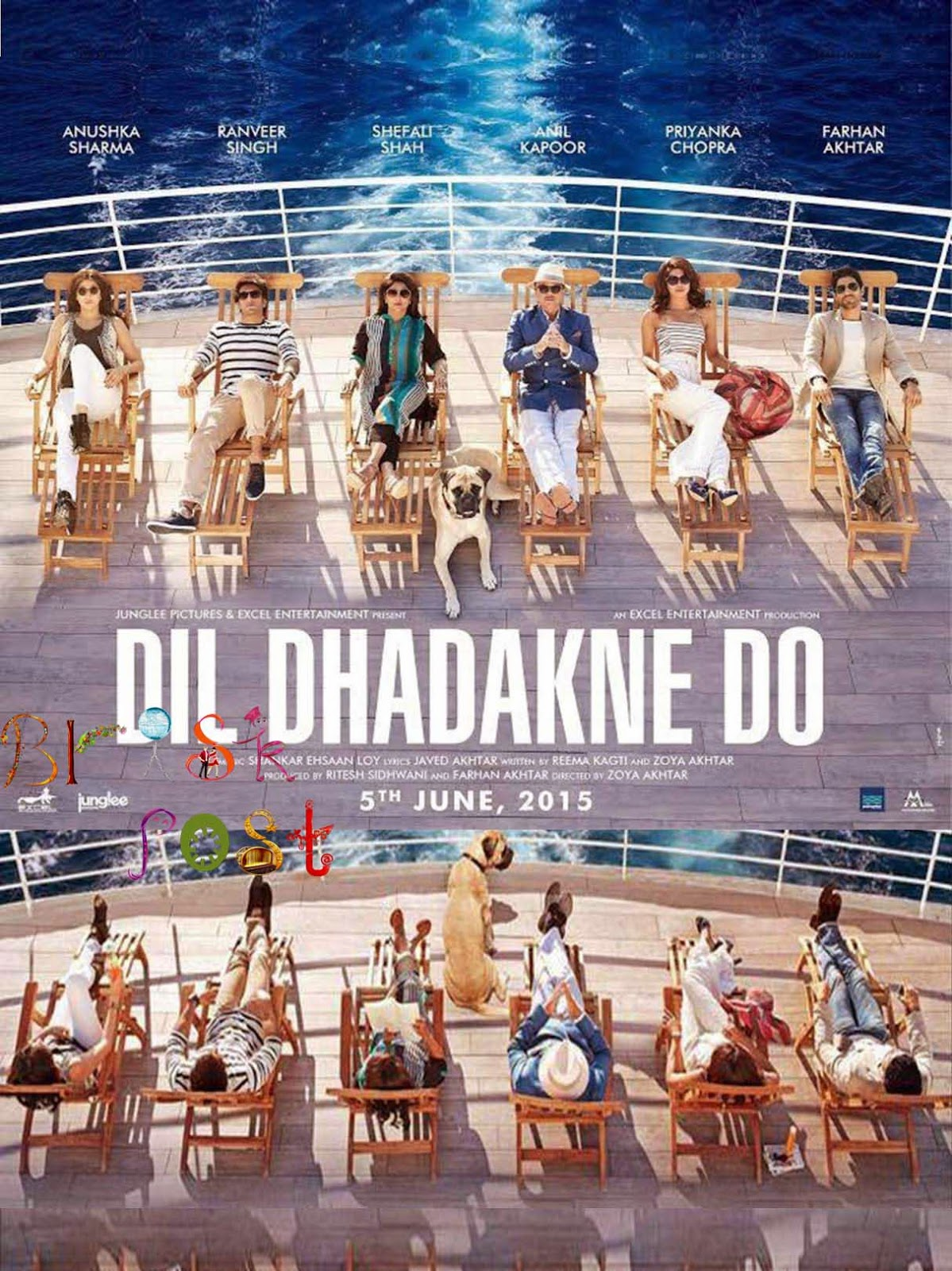 Dil Dhadakne Do Poster featuring Ranveer Singh, Priyanka Chopra, Anushka Sharma, Anil Kapoor, Farhan AKhtar, and Shefali cruising in a ship