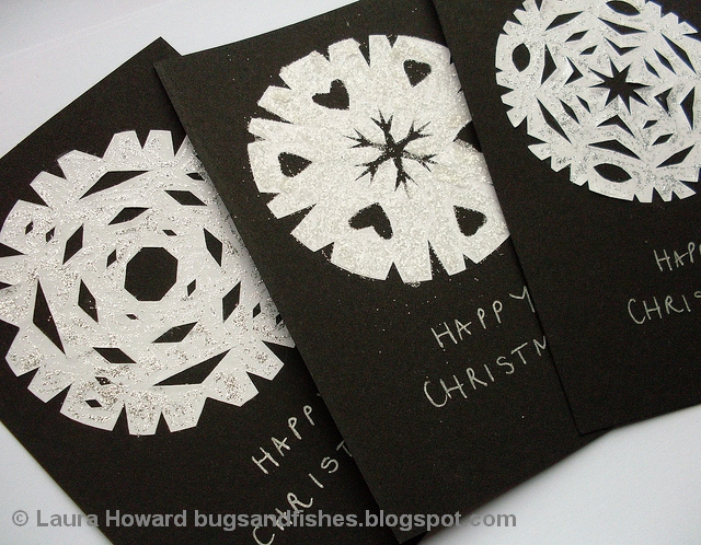 Bugs and Fishes by Lupin: DIY Glitter Snowflake Christmas Cards