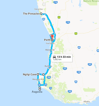 Self-drive Holiday PERTH, AUST ETC 2015 (Click the map for stories from Day 1)