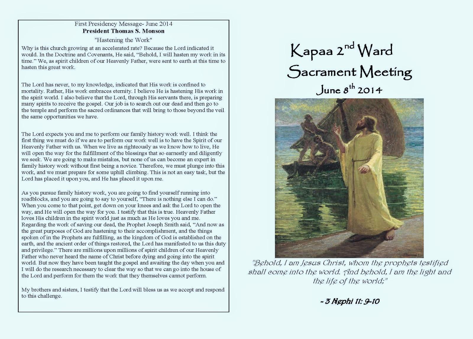 Lds Primary Sacrament Program