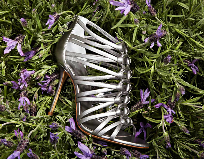 silver strappy Casadei heels sandals