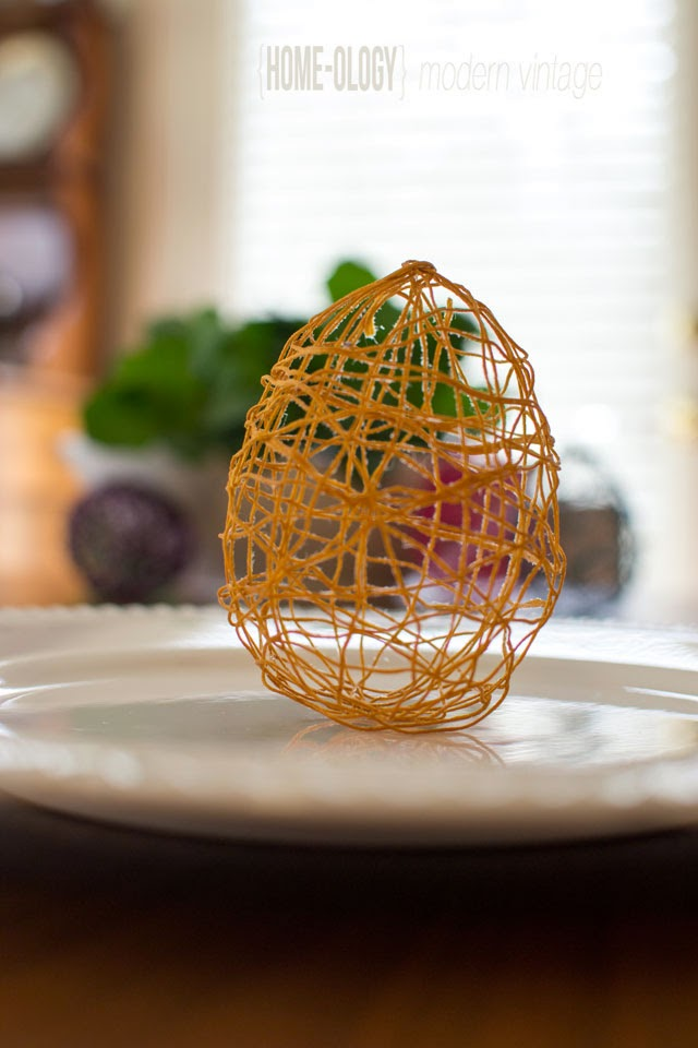 string egg place setting