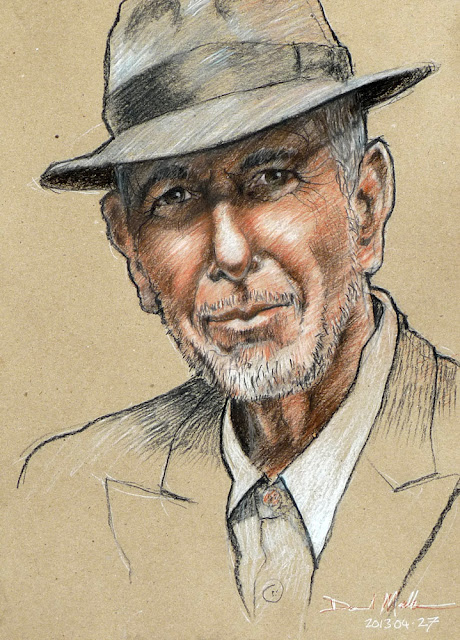 Leonard Cohen portrait by David Meldrum