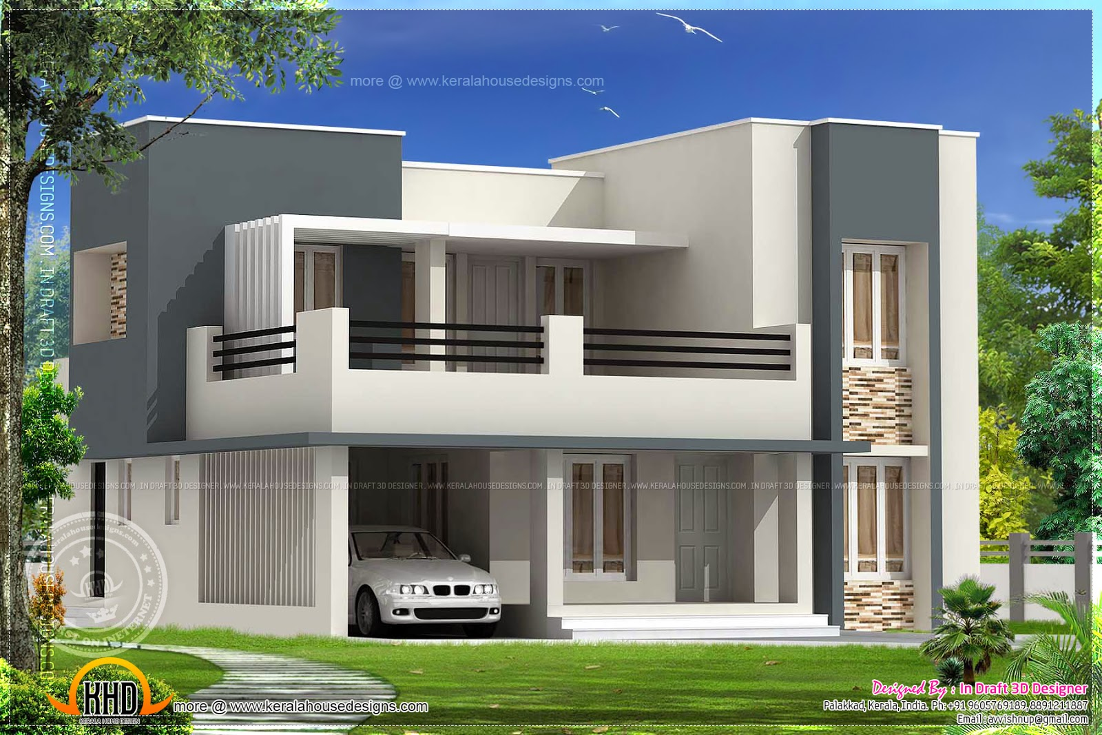 December 2013 kerala home design and floor plans for Kerala home design flat roof elevation