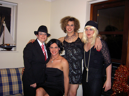 Crossdressed New Year's Eve party.