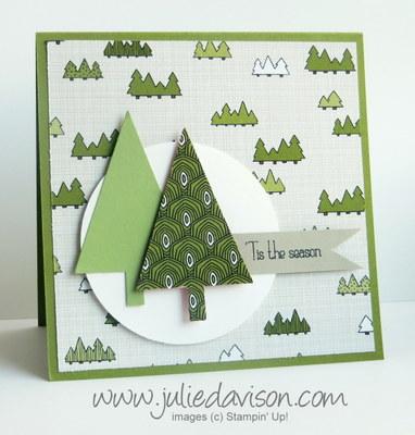 Stampin' Up! Tree Punch Card with Santa & Co. Designer Paper #stampinup www.juliedavison.com