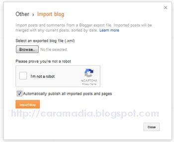 cara menggunakan menu impor blog di blogger