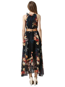 dress wanita terbaru modis motif bunga masa kini