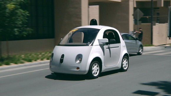 A Google self-driving navigates streets near the company's headquarters in Mountain View, California.