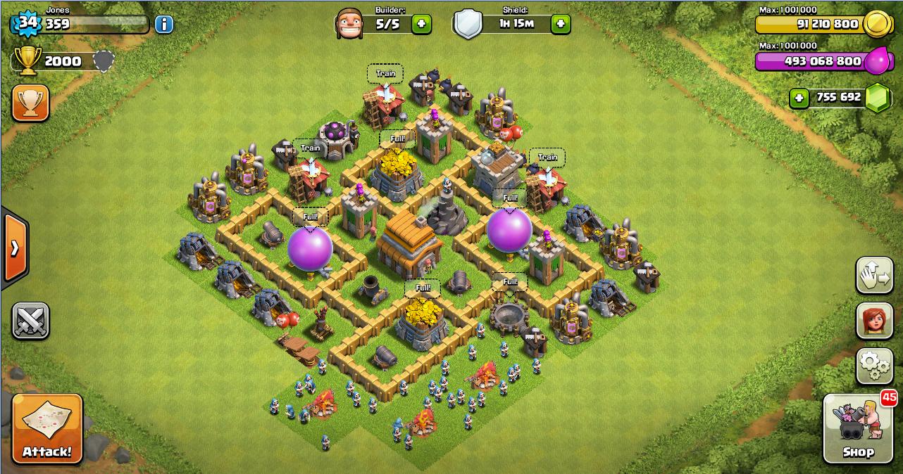 Thropy base clash of clans th 5 terbaru design base clash of clans