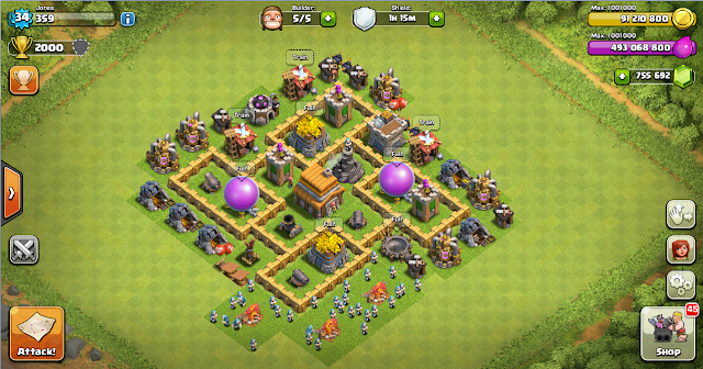 Thropy Base Clash Of Clans TH 5 Terbaru