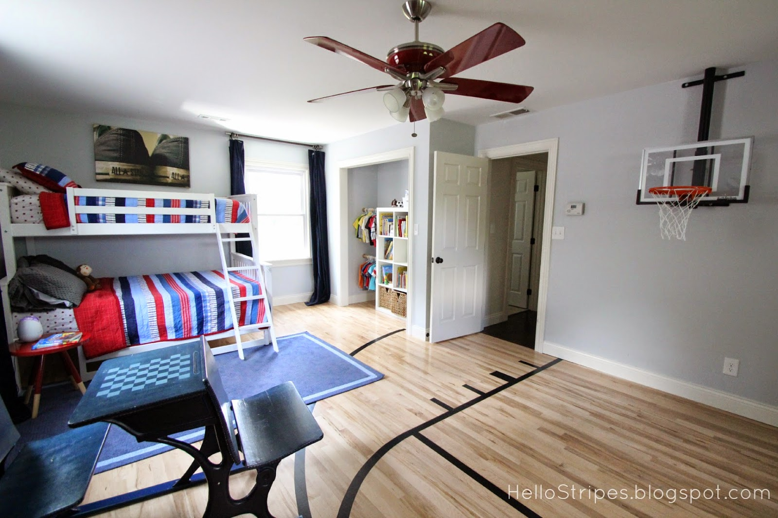 Hello stripes boys 39 bedroom before after for Basketball hoop for kids room