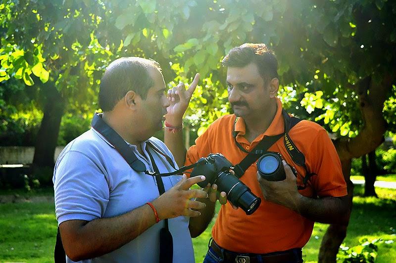 Photographer talking