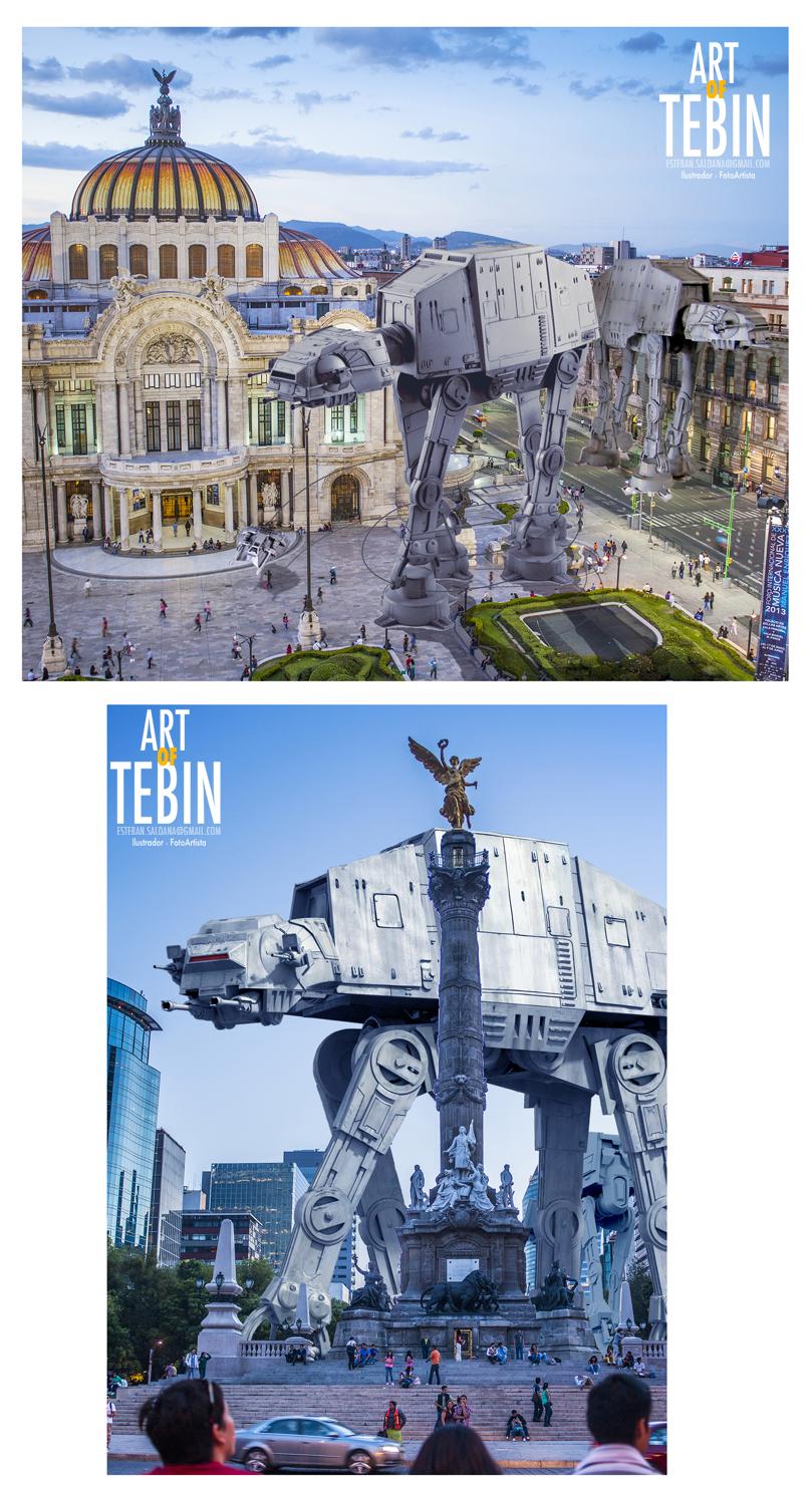Fotomontajes de la saga Star Wars bajo el escenario de la Ciudad de México por Art of Tebin
