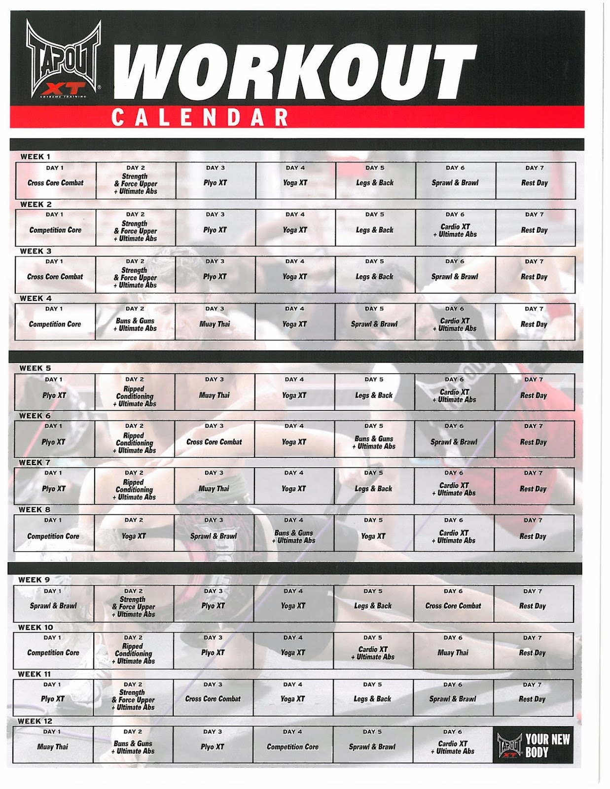 """Workout Calendar Pdf : Search results for """"tapout xt schedule pdf page"""
