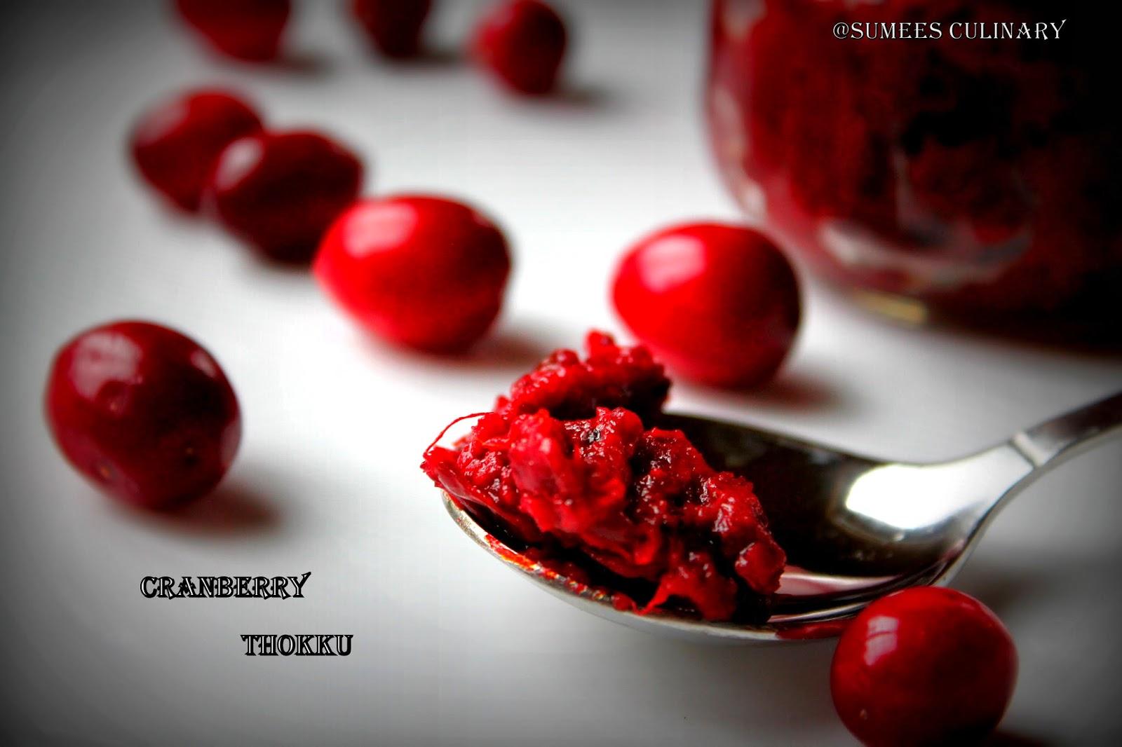 cranberry thokku/ spicy cranberry relish