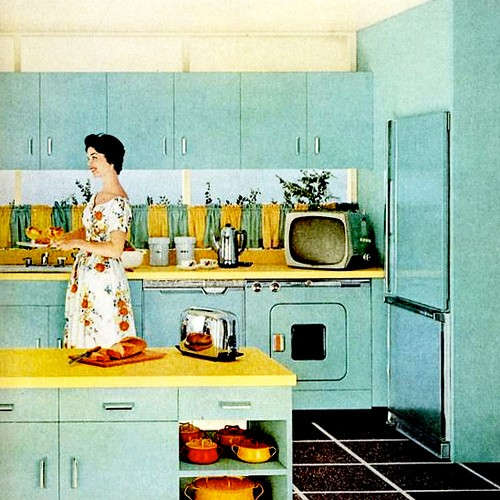 Retro Kitchen Art: Oh So Lovely Vintage: Current Obsession: Turquoise + Yellow