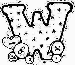 desenho de alfabeto de tecido e botoes para pintar letra X